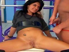 Sensual brunette gets load of pee and cum