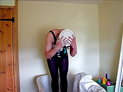Messy crossdresser in swimsuit and tights