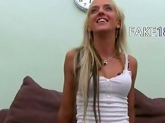 Horny blonde girl deep fuck on couch