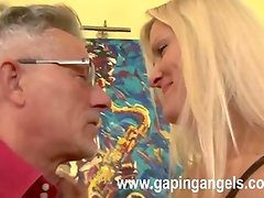 Blonde female rides aged dick