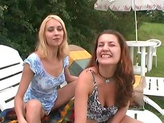 Blowjobs and pussy eating in outdoor foursome
