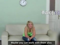 Shy blond first time on hidden camera
