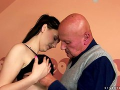 Beautiful Brunette Slut Fucked By Old Dude