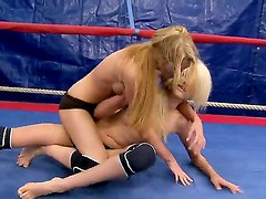Slender young babes Antonya and Blanche at the ring in the nude fight club