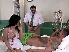 Backstage with a horny and sexy brunette nurse Wild Devil who sucks a big dick