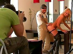 Amazing backstage scene with an amazing blonde Ivana Sugar and her fucker