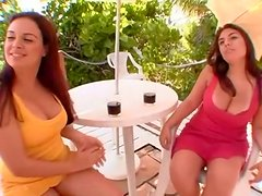 Curvy Latina friends show tits and finger outdoors