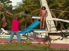 Naughty Latin girl gets fucked by Black guy outdoors