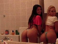 Lovely babes Aleska Diamond, Larissa Dee comparing their lovely charms in front of the mirror