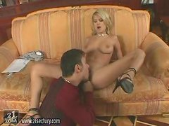 Beautiful blond babe Jasmine loves sucking his dick with his cum