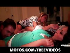 Group of slutty college teens start an orgy at a house