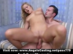 Lovely petite blonde rides cock and receiving cumshot on face