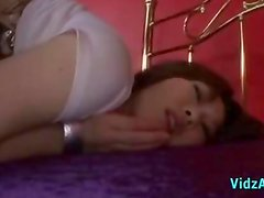 Asian Girl In White Top Getting Both Holes Fingered Rimming Riding On Guy Cock On The Bed
