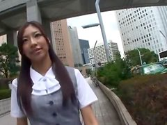 Nasty Asian office girl Haruka Naga gives some head