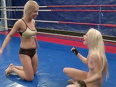 Crazy wild blondes Jessy Volt and Nikky Thorne in the hot nude fight show