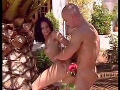 Beautiful brunette bent over outdoors to take cock