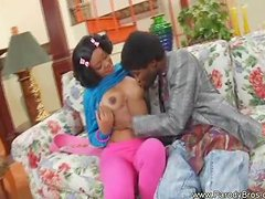 Young Ponytailed Black Girl Fuck Hard from Behind