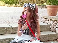 Curly beauty Subil Arch is playing with toy