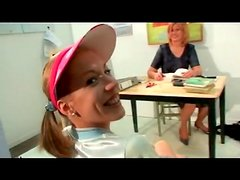 Teenager licked by her horny mature teacher