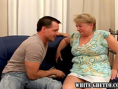 Old woman shows her passion and experience to younger guy