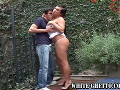 The sexy transsexual brunette fucks a guy in his tight ass