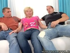 Lustful granny gets gangbanged by four guys