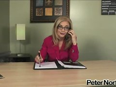 horny blonde MILF in glasses gets fucked in the office