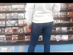 College Girl in Tight Jeans CD Shopping