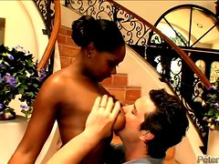 Ebony whore sucks a dick and gets fucked in missionary position