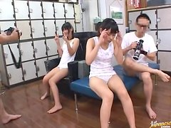 Randy Japanese Teens Riding and Sucking Two Cocks in Foursome