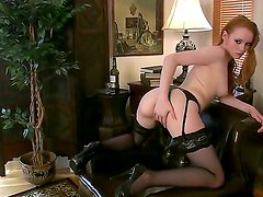 Redhead sexy petite Kloe in black lingerie craves for a portion of masturbation!