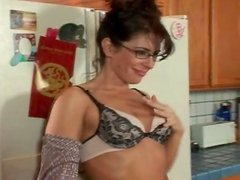 Housewife strips and sits on his hard dick