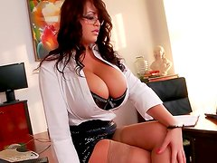 Curly secretary Leanne Crow is taking off her lingerie