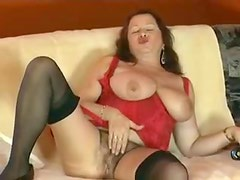 Hairy mature in lingerie loves toy sex