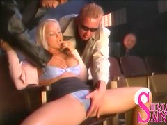 Sexy blonde girl gets fucked nicely in the cinema