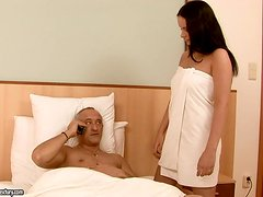 Tight Gorgeous Brunette Fucked In Hotel Room By Mature Dude