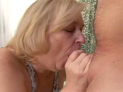 Cumming Inside a Blonde Chubby Granny's Shaved Pussy