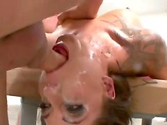 Chayse Evans gets her sexy face covered with hot and fresh cum after a hardcore blowjob