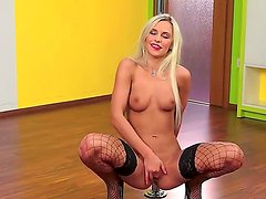 Voluptuous blonde slut Dido Angel presents us a private exciting strip and masturbation scene