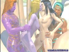 3D hentai hot groupfucked in the outdoors