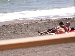 Non-Professional pair Bj and hj on beach