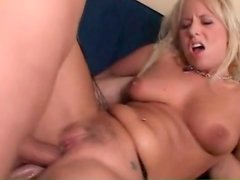 Double anal penetration of blonde whore