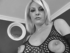 Blonde slut in fishnets likes to suck dick