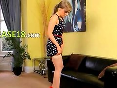 Beautiful girl undress at home in shoes