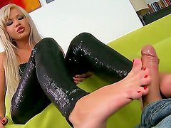 Amazingly hot blonde Cristal pleases horny male with wild foot job session