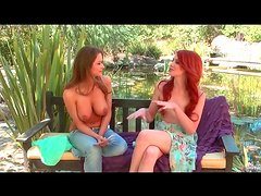 Tiny tits redhead and busty brunette interview topless