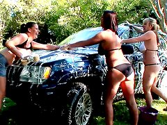 Lataya Roxx,Maggie Green and Rebecca Jessop is washing car