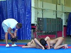 Nude fight club treats with with two young but very sexy brunettes Amabella and Sharon Lee
