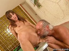 Mariana gets her pussy licked and fucked by some lewd old dude