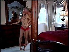 Milf in sexy red lace panties turns him on
